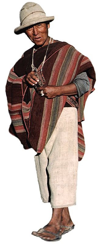 altiplano man wearing hand-made cloth